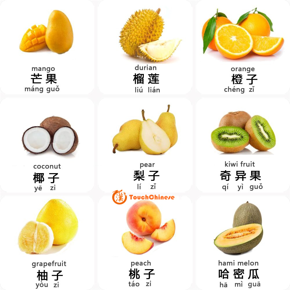MANDARIN CHINESE WORDS LIST - FRUITS (2) - TouchChinese